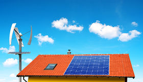 Solar panel on the roof of the house Stock Image