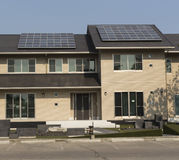 Solar panel  on a roof house Royalty Free Stock Photos