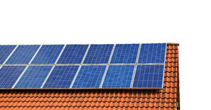 Solar panel on the roof of the house. Isolated on a white background Royalty Free Stock Photos