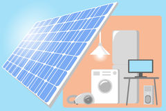 Solar Panel on a roof of house - renewable energy power for life. Vector. Illustration Stock Image