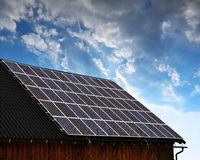 Solar panel on the roof of the house Royalty Free Stock Images