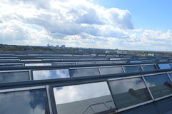 Solar panel on the roof of manufacturing plant Stock Image