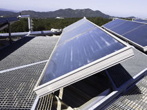 Solar panel in a roof and mountains. Solar panel in a roof. Galicia - Spain Royalty Free Stock Photo