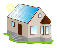 Solar panel on roof. New 3d private house with bay window. Isolated on white vector illustration Royalty Free Stock Photo