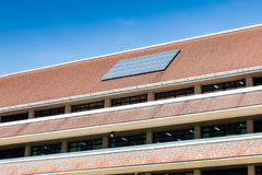 Solar panel on roof of office building. With the blue sky in sunny day stock photos