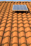 Solar panel on a  roof. Single solar panel on a roof Stock Images