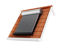 Solar panel on roof tile Royalty Free Stock Photography