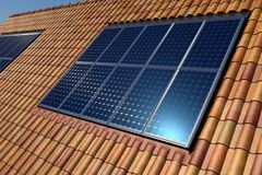 Solar panel on roof tiles. Solar cells panels on the ceramic roof of a house aerial view, render stock images