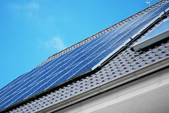 Solar panel on the rooftop Royalty Free Stock Images
