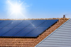 Solar panel on a rooftop Stock Photography