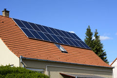 Solar panel on the rooftop Stock Image