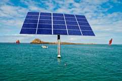 Solar panel in the sea Royalty Free Stock Images