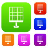 Solar panel set color collection. Solar panel set icon color in flat style isolated on white. Collection sings vector illustration Royalty Free Stock Image