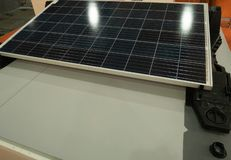Solar panel showcase at diy hardware store. energy saving equipment for autonomous electricity generating and cost saving on royalty free stock photos