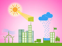 Solar Panel Shows Energy Source And Downtown Royalty Free Stock Photos