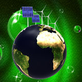 Solar Panel Shows Energy Source And Earth Stock Photo