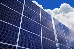 Solar panel on the sky background Stock Photos