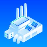Solar panel smart building icon, isometric style vector illustration