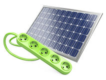 Solar panel with socket Royalty Free Stock Images