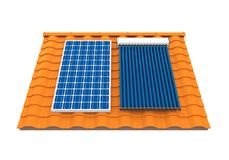 Solar Panel and Solar Heat Pipe Collector. Isolated on white background. 3D render Stock Photo