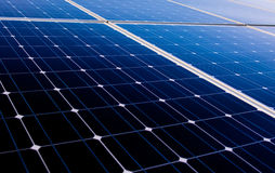 Solar panel of a solar plant Stock Photos