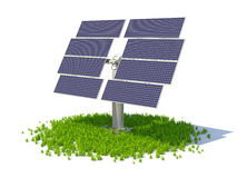 Solar panel standing on a grass forming circle. Isolated on a white background royalty free illustration