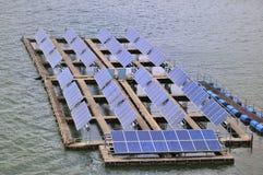 Solar panel station. On the lake Royalty Free Stock Image