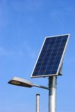 Solar panel and street light stockbilder