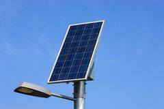 Solar panel and street light Royalty Free Stock Image
