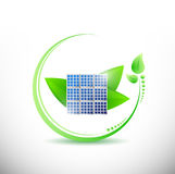 Solar panel and stylish leaves. illustration Stock Photos