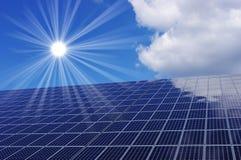 Solar panel and sun. Solar panels, blue sky and sun Royalty Free Stock Photo