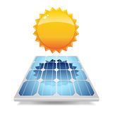 Solar panel with sun Stock Photo