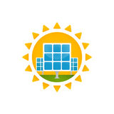 Solar panel and sun. Stock Images
