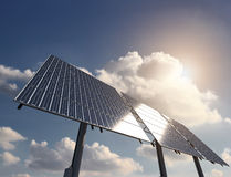 Solar Panel with Sun and clouds on background. Energy from Sun with Solar Panel Stock Image