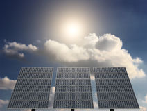 Solar Panel with Sun and clouds on background. Energy from Sun with Solar Panel Stock Photography