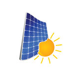 Solar panel with sun color  Royalty Free Stock Photography