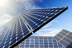 Solar Panel, Sun Flare Royalty Free Stock Photos