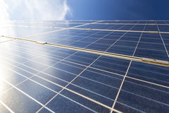 Solar panel, sun flare Stock Images