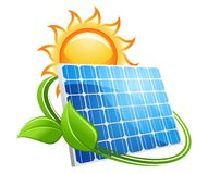 Solar panel and sun icon. Solar panel icon with a golden hot sun above a photovoltaic panel encircled with fresh green leaves conceptual of renewable energy from Royalty Free Stock Photography