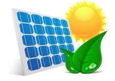 Solar Panel Sun Leafs Stock Photo