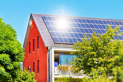 Solar panel with sun Royalty Free Stock Photo