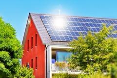Solar panel with sun royalty free stock photo