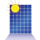Solar panel with sun vector illustration Stock Photo