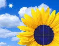 Solar panel in a sunflower Stock Photos