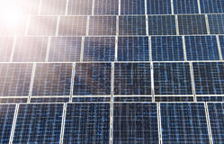 Solar panel with sunlight Royalty Free Stock Images