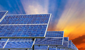 Solar panel on sunset background Royalty Free Stock Images