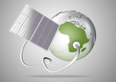 Solar panel supplies power from the sun to Africa. Concept for g Stock Images