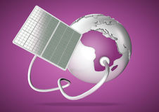 Solar panel supplies power from the sun to Africa. Concept for g Royalty Free Stock Photo