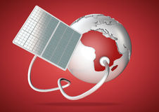 Solar panel supplies power from the sun to Africa. Concept for g Stock Image
