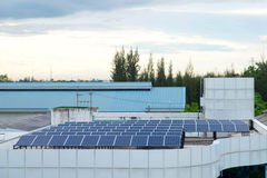 Solar panel system  building roof Royalty Free Stock Images